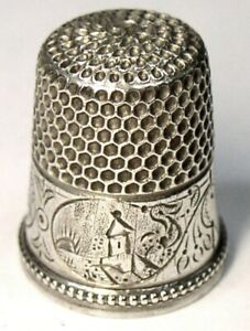 Antique Sterling Silver Thimble Country House Church Scenes Sakee Monogram