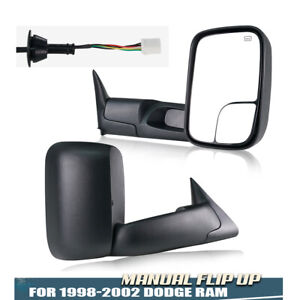 Power Heated Flip Up Tow Mirrors For 1998 2001 Dodge Ram 1500 98 02 2500 3500