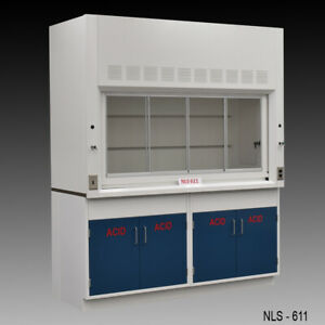 6 Chemical Fume Hood W Two Blue Acid Cabinets Fisher American New E2 158