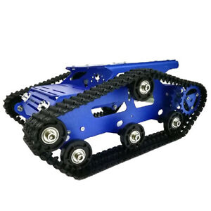 Blue Smooth Operation Metal Robot Tank Car Chassis 12v With Code Wheel Motor
