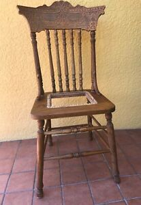 Vintage Oak Pressed Back Side Chair For Refinish And Recane Local Pickup Only