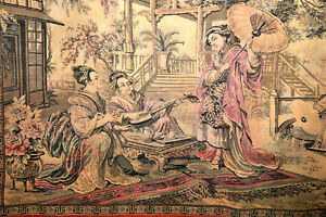 Antique Old Oriental Asian Tapestry France 43 3 4 W X 28 H Beautiful