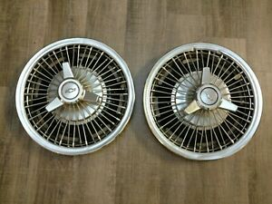 64 65 66 Chevrolet Wire Spinner Hub Caps Set 2 Wheel Covers 1964 1965 1966