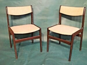 Pair Of Mid Century Modern Rosewood Dining Side Chairs
