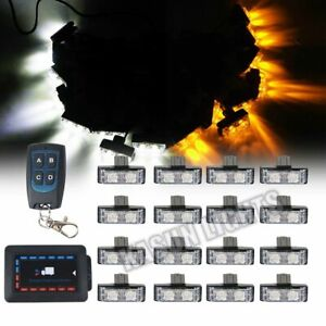16in1 32 Led Flash Strobe Warning Lights Car Grille Wireless Remote Amber White