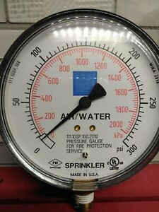 4 Air Water Pressure Gauge 300 Psi 2000 Kpa