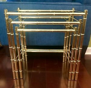 Set 3 Faux Bamboo Nesting Tables Brass Plated Mcm Vintage Chinoiserie