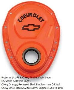 Proform 141 783 Chevy Small Block Timing Cover Steel Orange black Chevy Logo