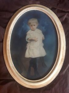 Large 17x23 Antique Oval Frame W Bubble Glass Child S Tinted Portrait