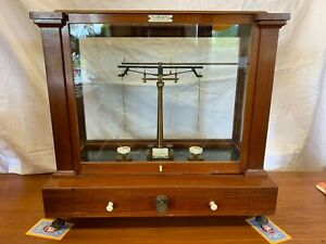 Antique Henry Troemner Gold Scale Wood And Glass Cabinet