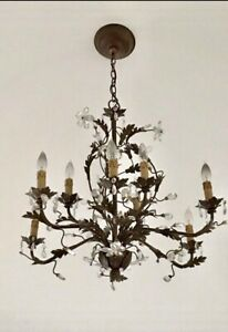 Vintage French Maison Bagues Crystal Chandelier French Country