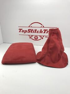 Fits 02 04 Wrx And Sti Shift Boot And Armrest Red Suede Black Stitching