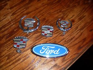 Lot Of 5 Car Hood Orniments And Emblems Cadillac And Ford