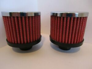 Chrome Valve Cover Breather Pre Oiled Red Push In Washable Pair 9308red 2