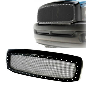 Grille Dodge Ram 1500 For 2006 2008 Front Rivet Black Stainless Steel Wire Mesh