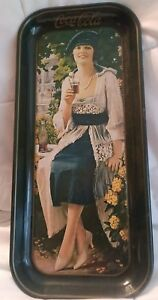 Coca-Cola Avertisment Tray Blue Dress Lady 1973 reproduction Lot of 2