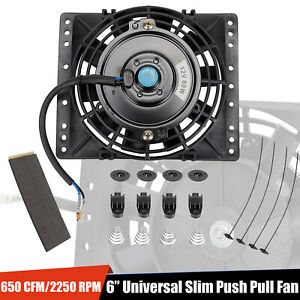 6 Slim Push Pull Electric Cooling Fan 650cfm Radiator Mount Kit Universal Black