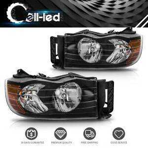 For 02 05 Dodge Ram 1500 2500 3500 Pickup Black Headlights lamps Turn Signal