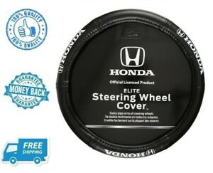 New 15 Honda Logo Elite Rubber Car Steering Wheel Cover Vehicle Van Suv Black