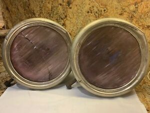 Antique Car Truck Headlights B L Lenses Purple Tint From Age