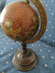 Vintage Italian Old World Wood Italian Globe 8 1 2