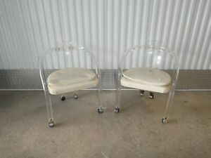 Pair Of 1970 S Tubular Arm Lucite Dining Arm Chairs