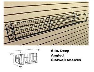 Lot Of 10 Slatwall Shelves 6 Inch Deep 48 Long Angled Slatwall Shelf black