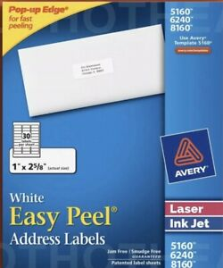 4200 Avery 5160 6240 8160 5260 Address Mailing Shipping Labels 1 X 2 5 8