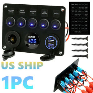 5 Gang On Off 12v 24v Car Marine Boat Toggle Switch Control Panel 2 Usb Charger