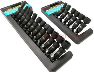 New 18pc 1 4 Drive Universal Ball Swivel Deep Impact Socket Set Sae