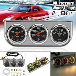 2 52mm Triple 3in1 Oil Pressure Water Temp Amp Gauge Meter Set Chrome Bezel