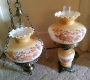 Antique Vtg Gone With The Wind Flower Glass Hanging Hurricane Lamp Chandelier