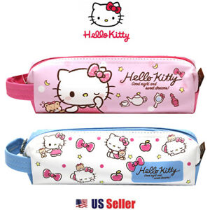 Sanrio Hello Kitty Pencil Case Multi purpose Pouch With Hanger Pink Or Blue