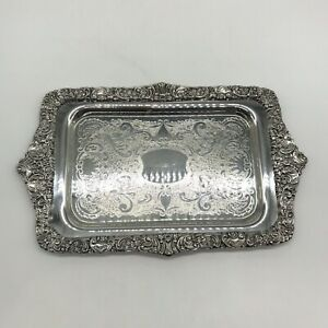 Baroque By Wallace Silver Engraved Tray
