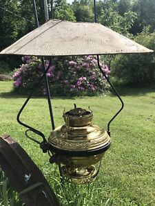 Antique Country Store Lamp Iron Bracket Metal Shade Brass Lamp Ornate Hook