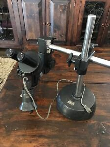 Wild Heerbrugg M4 Stereo Zoom Microscope With Light Adjustable Base Ser 25621