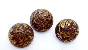 Antique Stamped Brass Black Enamel Floral Swirls Small Buttons Set Of 3 24686