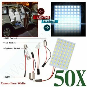 50x Festoon T10 Ba9s 1156 White Led 48smd Panel Interior Dome Map Light Bulbs Us