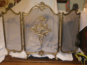 Vintage Brass French Victorian Footed 3 Panel Folding Fireplace Screen