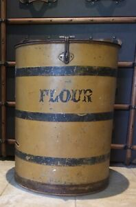 Antique Large Clever General Store Feed Flour Barrel Bin Mustard Paint Iron Lock