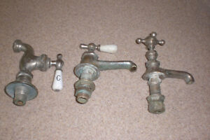 3 Vintage Cold Water Faucet Value Round Porcelain Nickel Plated Brass Antique