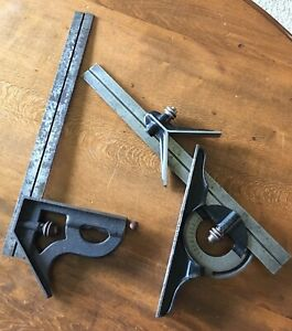 Starrett Combination Square Set With Center Head Protractor Two 12 Rules
