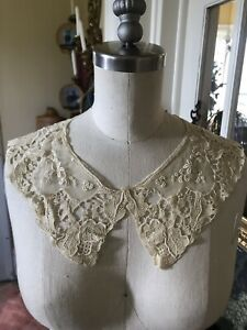 Fine Silk Linen 1800 S Ornate Floral French Collar Ecru Large Needle Lace