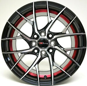 4 New 15x7 Black Machined With Red 4x100 4x114 3 Wheels For Miata Civic