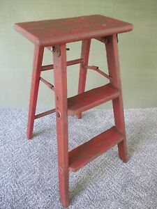 Antique 3 Step Folding Stool Primitive Stepstool Vintage Wood Ladder Red Paint