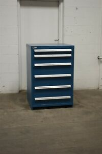 Used Stanley Vidmar 6 Drawer Cabinet 44 Inch Tall Industrial Tool Storage 1716