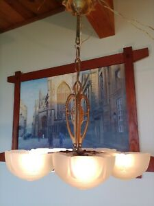 Antique Art Deco Glass Slip Shade Ceiling Chandelier 5 Shade Lamp 18