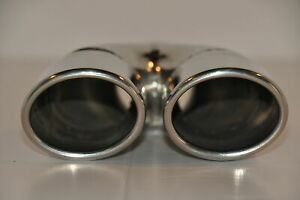 Polished Stainless Oval Dual Rolled Exhaust Tip 2 25 In 3 X 2 5 Out 9 Overall