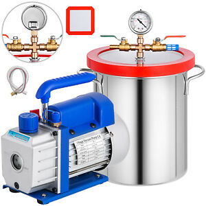 3 Gallon Vacuum Chamber And 3 6 Cfm Single Stage Pump Degassing Silicone