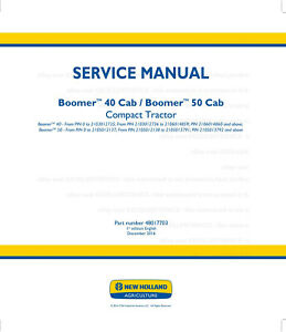New Holland Boomer 40 Cab 50 Cab Compact Tractor Service Manual Printed